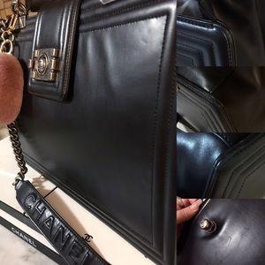 CHANEL Bags - Auth. Chanel $5600 Black Le Boy Jumbo Reverso Tote